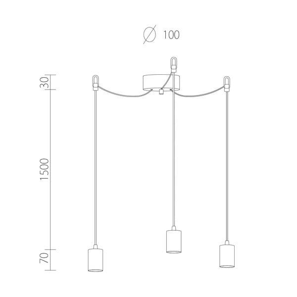 Tři závěsné kabely Cero, stříbrná/černá/stříbrná