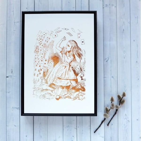 Plakát v dřevěném rámu Alice in Wonderland Playing Cards