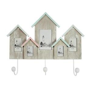 Dřevěný věšák s fotorámečky Houses 46x37 cm