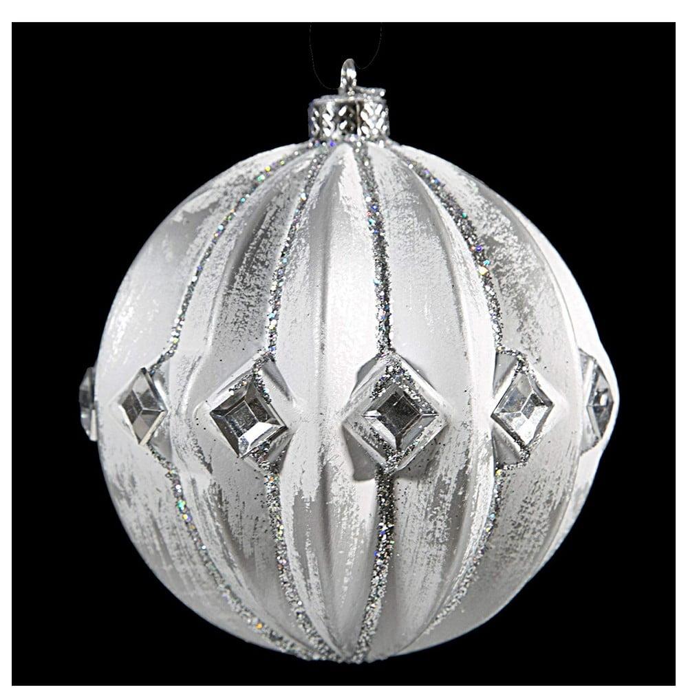 Sada 6 plastových vánočních ozdob ve stříbrné barvě DecoKing Elsa