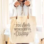 Bavlněná taška s koženkovými uchy Mr. Wonderful You look wonderful