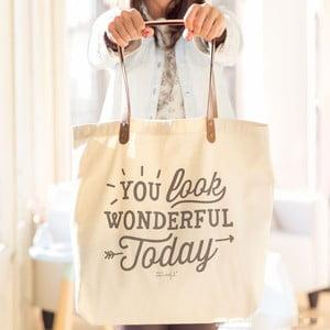 Bavlněná taška s koženými uchy Mr. Wonderful You look wonderful