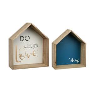 Sada 2 dřevěných nástěnných polic Versa Houses Love
