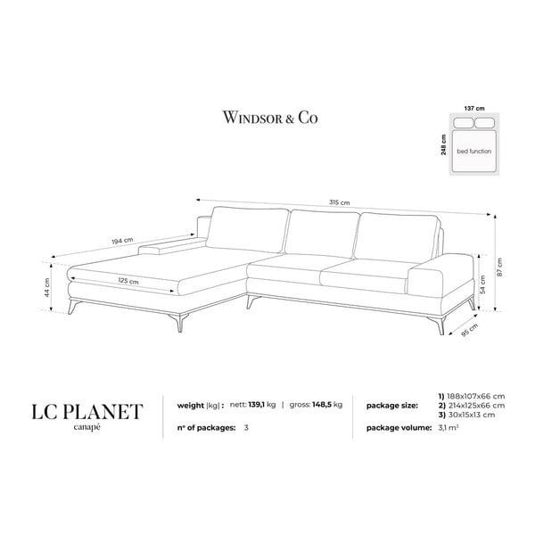Canapea extensibilă tip colțar cu șezlong pe partea stângă Windsor & Co Sofas Planet, albastru petrol