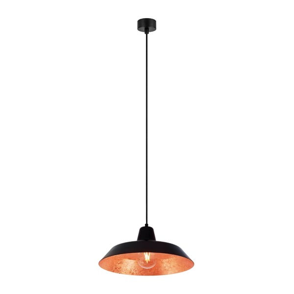 Černé stropní svítidlo s vnitřkem v měděné barvě Bulb Attack Cinco, ⌀35cm