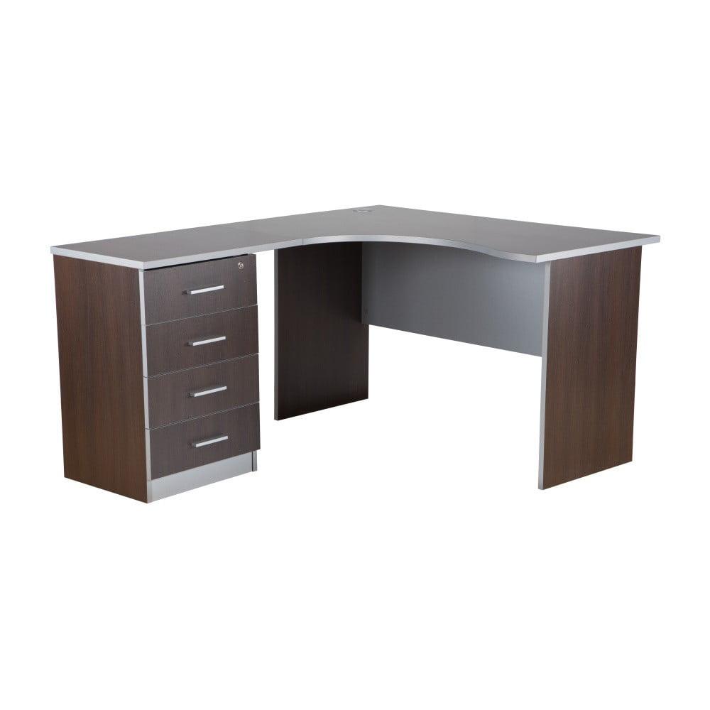Pracovní stůl v dekoru tmavého dubu s kontejnerem Premium Office