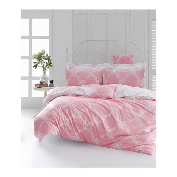 Obliečky s plachtou na dvojlôžko z ranforce bavlny Mijolnir Nadine Pink, 200 × 220 cm