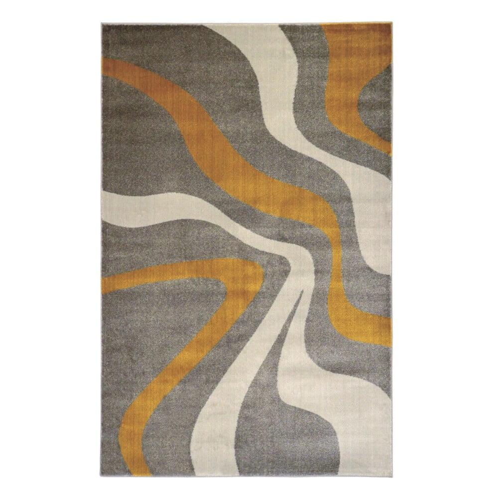 Šedý koberec Webtappeti Swirl Yellow,80x150cm