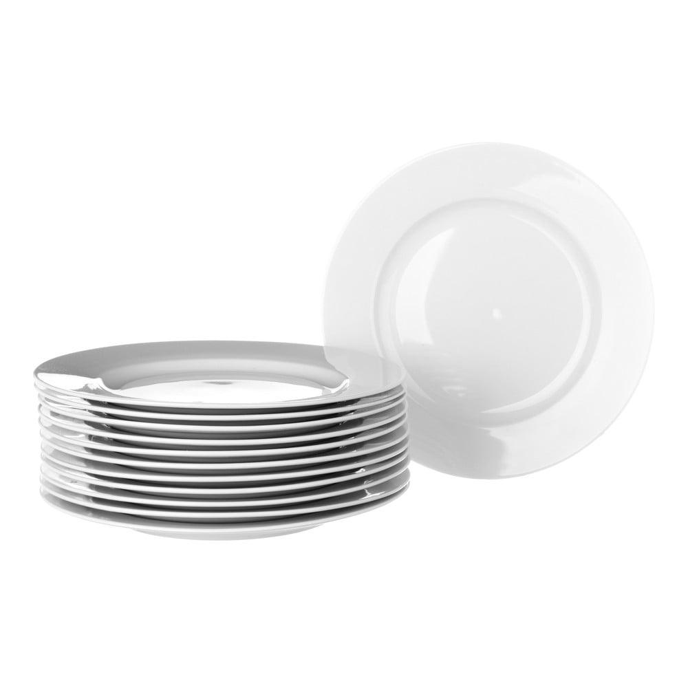 Sada 12 bílých porcelánových talířů Unimasa Elegant, průměr19cm Unimasa