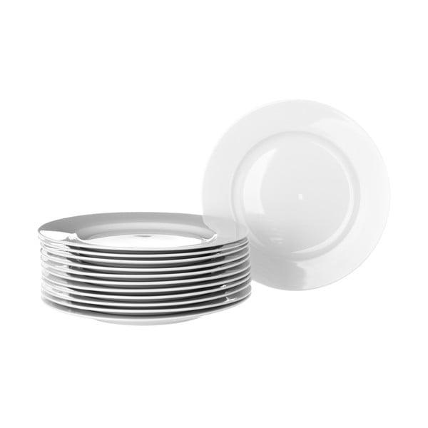 Sada 12 bielych porcelánových tanierov Unimasa Elegant, priemer 19 cm