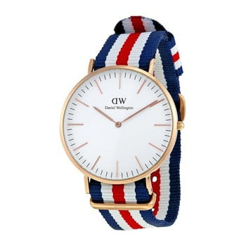 Ceas unisex Daniel Wellington Canterbury, ⌀ 40 mm, alb-roz auriu imagine