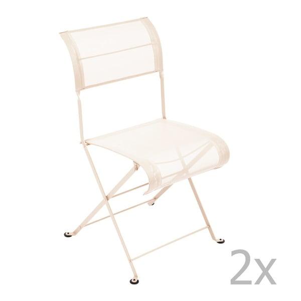 Sada 2 krémových skládacích židlí Fermob Dune