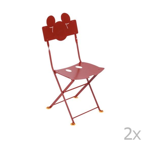 Sada 2 červených dětských kovových zahradních židlí Fermob Bistro Mickey Junior