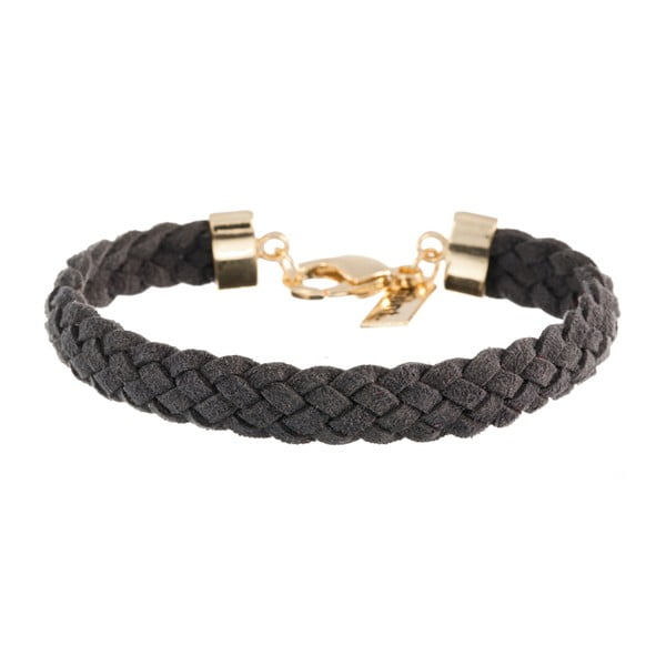 Náramek Strand braided gold, dark grey
