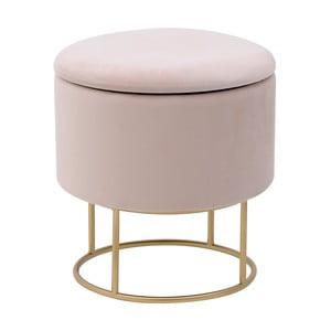 Béžová stolička sesametovým potahem aúložným prostorem InArt Metallic
