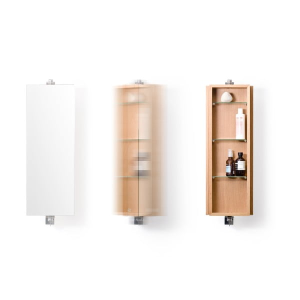 Otočné zrcadlo s úložným prostorem z dubového dřeva Wireworks Mezza, výška71cm