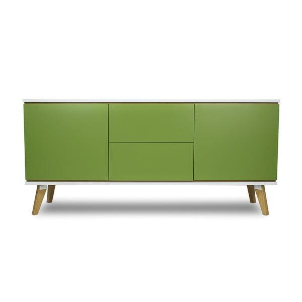 Dvoudveřová komoda v dekoru dřeva se 2 zásuvkami a zelenými detaily SKANDICA Jorgen