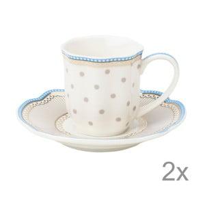 Porcelánový šálek na espresso s podšálkem Beach od Lisbeth Dahl, 2 ks