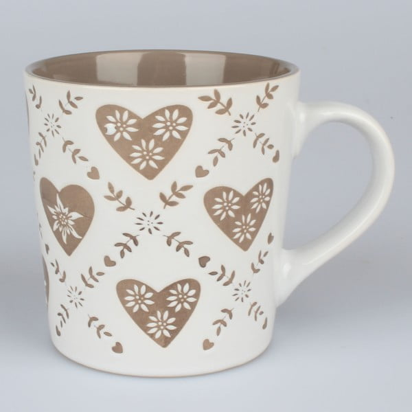 Béžovo-biely ručne zdobený keramický hrnček Dakls Heart, 473ml