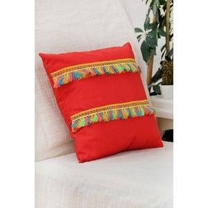 Povlak na polštář Mode, červený s třásněmi