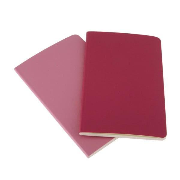 Sada 2 notesů Moleskine Pink, nelinkované 9x14 cm