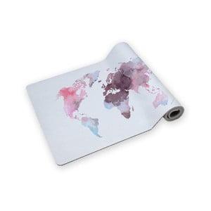 Podložka na jógu Surdic Yoga Mat Watercolor map s motivem mapy světa, 60 x 185 cm