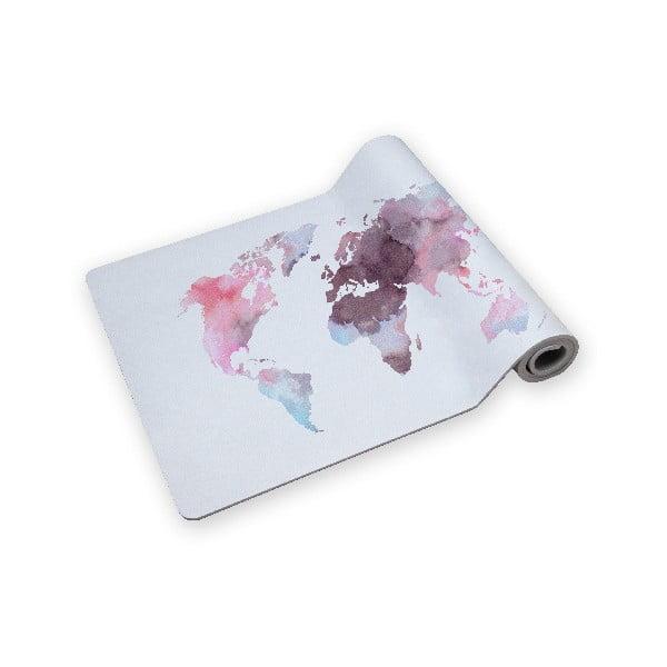 Podložka na jogu Surdic Yoga Mat Watercolor máp s motívom mapy sveta, 60 x 185 cm