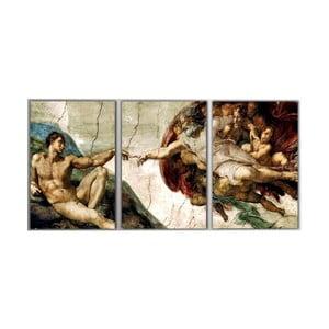 3dílný obraz The Creation of Adam, 45x90 cm