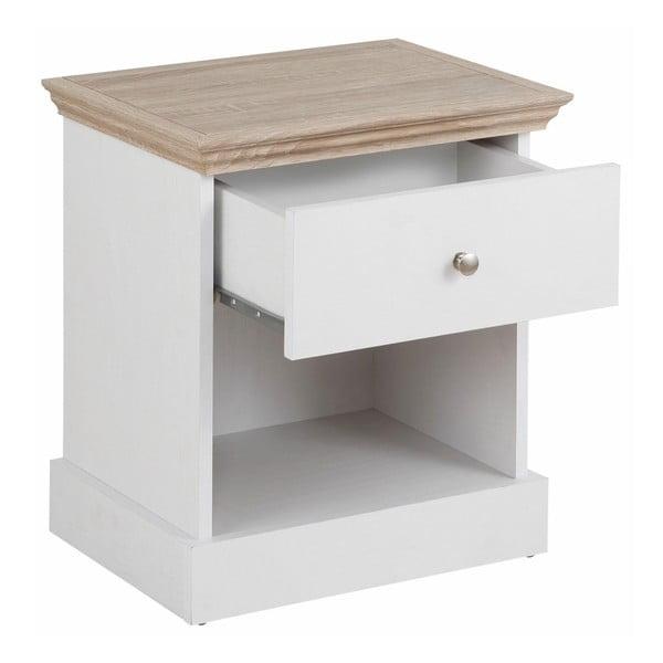 Bílý noční stolek s detaily v dubovém dekoru Støraa Bruce