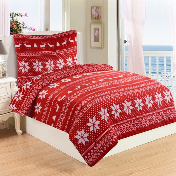 Lenjerie de pat din micropluș My House Winter, 140 x 200 cm, roșu