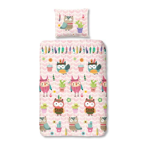 Lenjerie de pat din bumbac pentru copii Good Morning Owlz, 140 x 200 cm