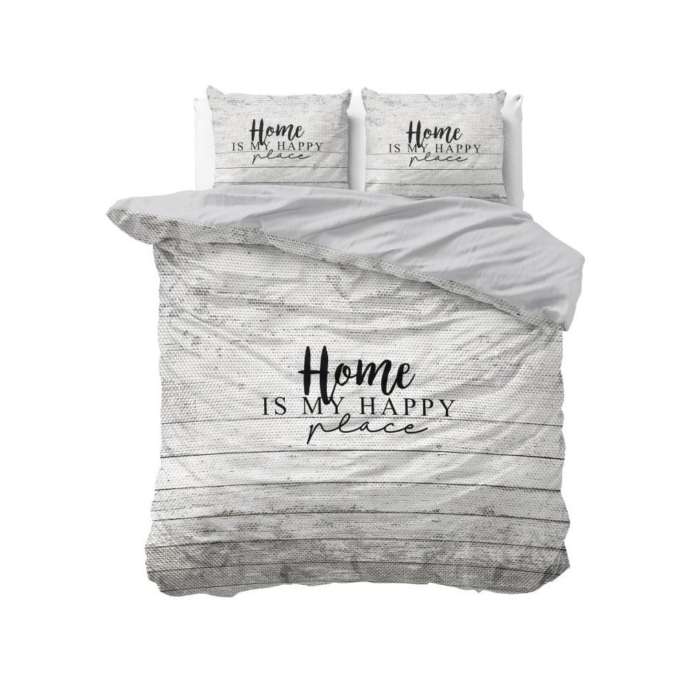 Bavlněné povlečení na dvoulůžko Sleeptime Home is Happy, 200 x 220 cm