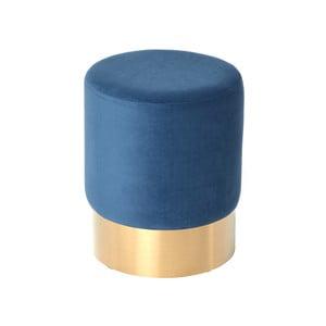 Tmavě modrý sametový puf s podnožím ve zlaté barvě Miloo Home Noche, ⌀35cm