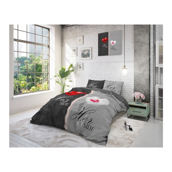 Šedé povlečení na jednolůžko z čisté bavlny Sleeptime His and Hers, 140 x 220 cm