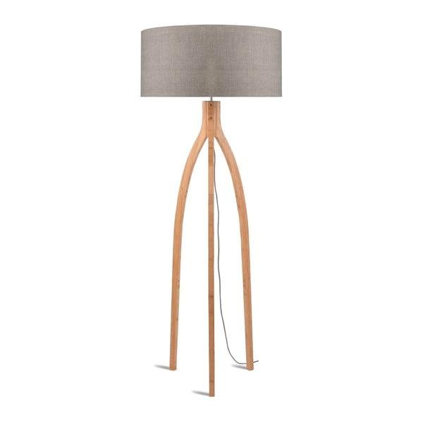 Stojací lampa s béžovým stínidlem a konstrukcí z bambusu Good&Mojo Annapurna