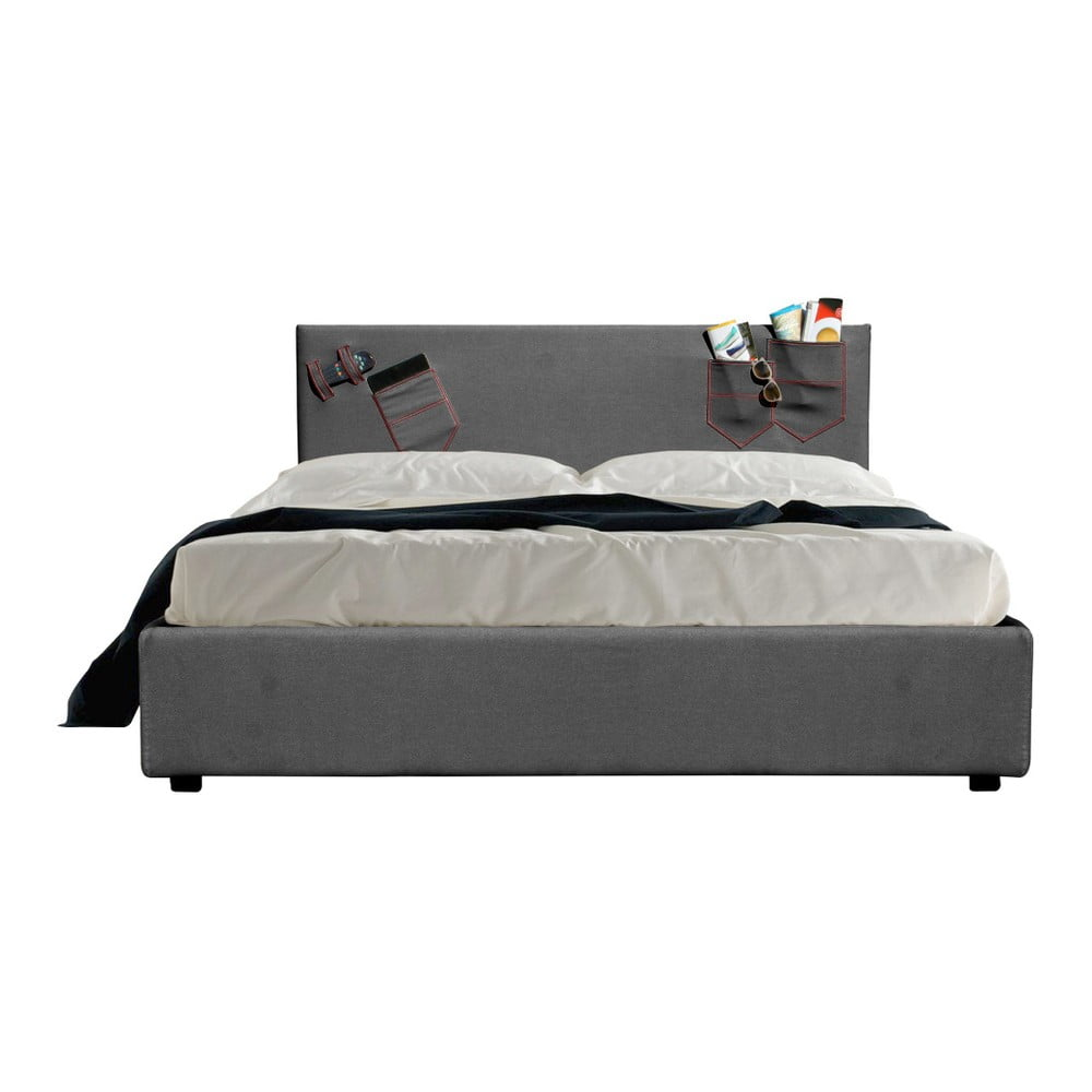 Šedá dvoulůžková postel s úložným prostorem a matrací 13Casa Task, 160 x 200 cm