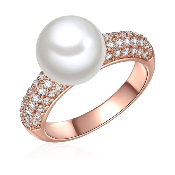 Prsten v barvě růžového zlata s bílou perlou Perldesse Muschel, vel. 58