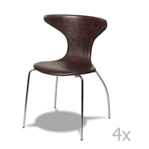 Sada 4 tmavě hnědých židlí Furnhouse Suki
