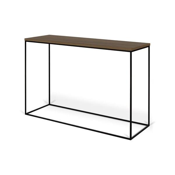 Konzolový stolek s deskou z ořechu a černýma nohama TemaHome Gleam