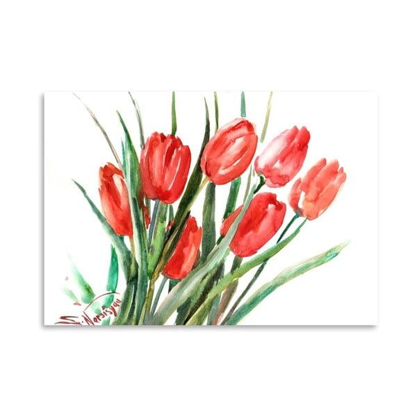 Autorský plakát Red Tulips od Surena Nersisyana, 42x30cm