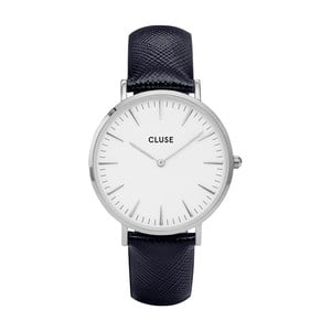 Dámské hodinky s černým koženým řemínkem a detaily ve stříbrné barvě Cluse La Bohéme