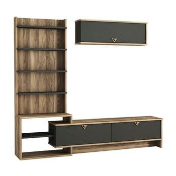 Mobilă de perete pentru TV în decor de lemn de nuc Piril de la Tera Home
