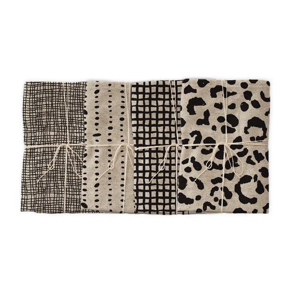 Sada 4 látkových ubrousků s příměsí lnu Linen Couture Leopard, 43 x 43 cm