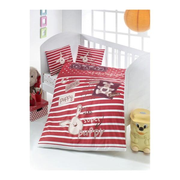 Set bavlněného dětského povlečení s prostěradlem Puppy, 100x150cm
