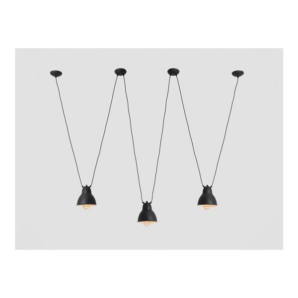 Lustră triplă cu detalii aurii Custom Form Coben Hangman, negru