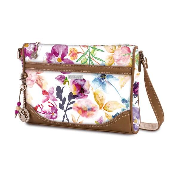 Bílá kabelka s barevnými květy SKPA-T, 25 x 18 cm