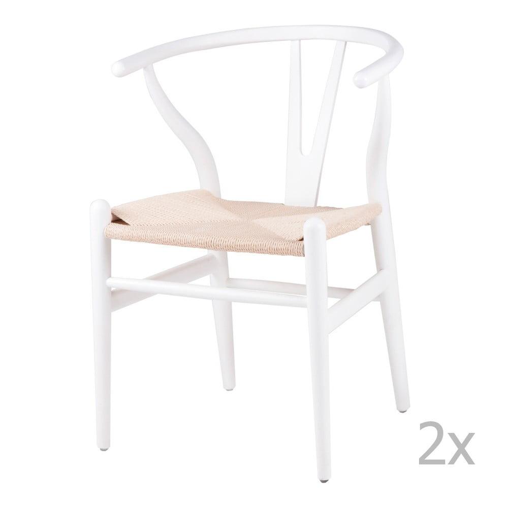 Sada 2 bílých dřevěných jídelních židlí sømcasa Ada
