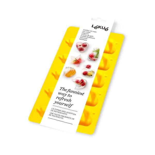 Žlutá silikonová forma na led Lékué Duck, 10 kostek