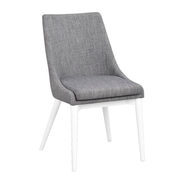 Sivá polstrovaná jedálenská stolička s bielymi nohami Rowico Bea