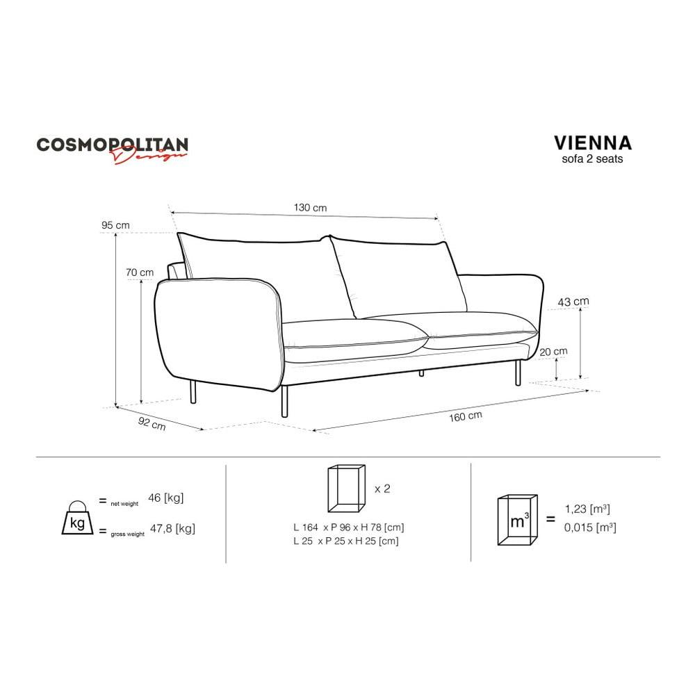 Produktové foto Světle šedá sametová pohovka Cosmopolitan Design Vienna, 160 cm